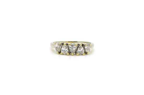 14k White Gold 5-Stone Pear Shaped Diamond Band Ring - .75 ct. total - Size 5