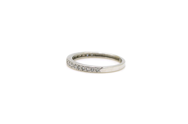 14k White Gold Pave-Set Round Diamond Band Ring - .10 ct. total - Size 7