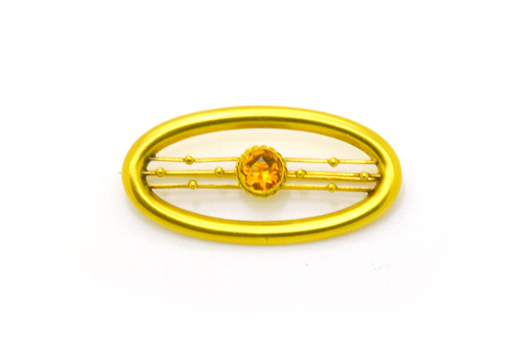Vintage 10k Yellow Gold Oval Shaped Orange Citrine Pin Brooch - 41 by 20 mm