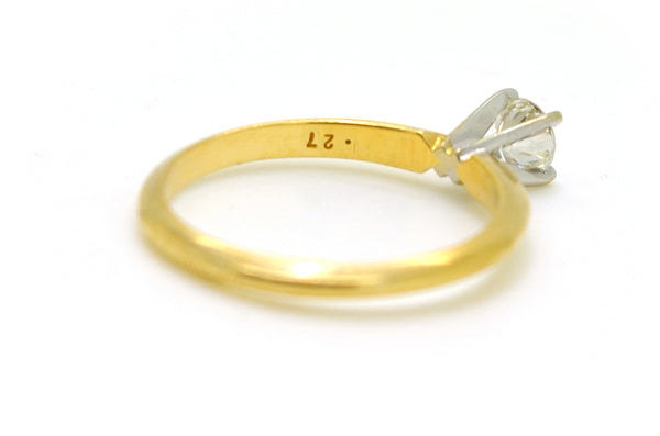 Vintage 14k Yellow Gold Diamond Solitaire Engagement Ring - .27 ct. - Size 5.5
