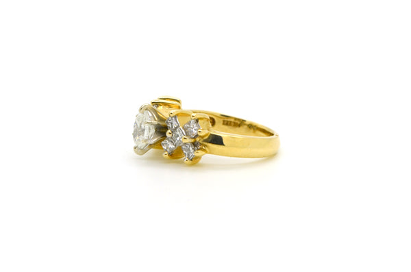 14k Yellow Gold Marquise Diamond Cluster Engagement Ring - 1.50 ct. tw - Size 7