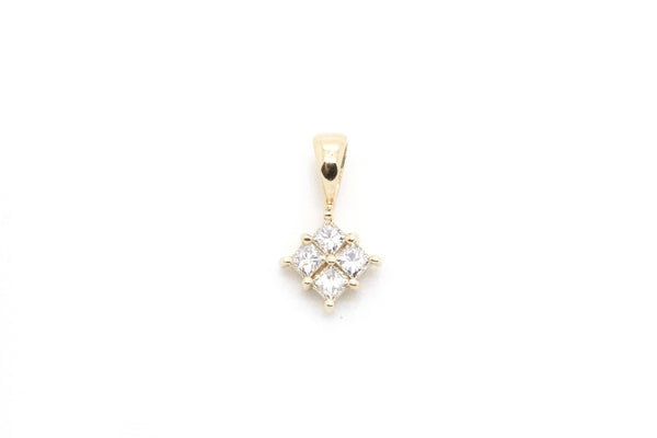 14k Yellow Gold Princess Diamond Cluster Pendant - .50 ct. total - 0.9 dwt