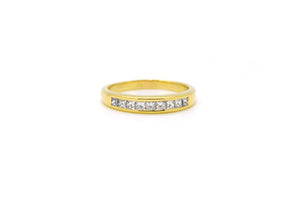 14k Yellow Gold Channel Princess Diamond Band Ring - .75 ct. total - Size 6.5