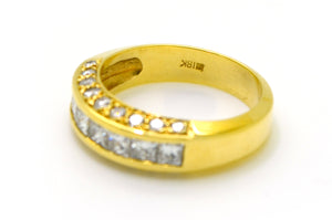 18k Yellow Gold Channel Princess & Round Diamond Ring - 1.50 ct. tw - Size 6.25