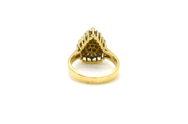 Vintage 14k Yellow Gold Diamond Pear Cluster Ring - .50 ct. total - Size 6.75