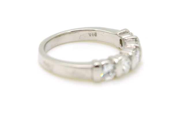 14k White Gold Diamond Bar-Set 5-Stone Band Ring - 1.00 ct. total - Size 6