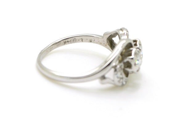 Vintage 14k White Gold Diamond Moi Et Toi Twin Ring - .40 ct. total - Size 6.25