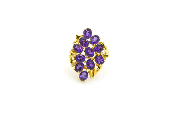Vintage 14k Yellow Gold Diamond & Amethyst Cocktail Cluster Ring - Size 7.75