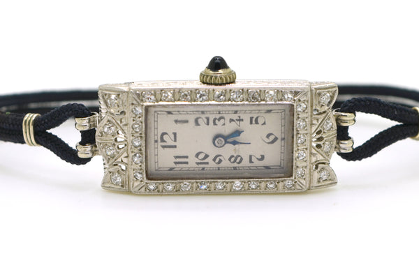 Vintage Ladies Platinum Glycine Watch with Diamonds - 17 Jewels - .35 ct. total