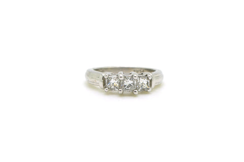 Platinum Three Stone Princess Diamond Engagement Ring - .75 ct. total - Size 6