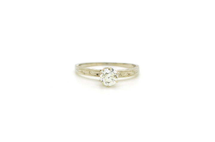 Vintage 14k White Gold Diamond Solitiare Engagement Ring - .50 ct. - Size 6