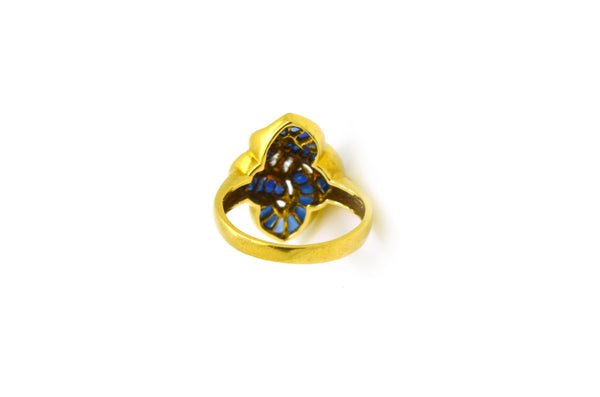 Vintage 18k Yellow Gold Sapphire and Diamond Ring - 1.08 ct. total - Size 5