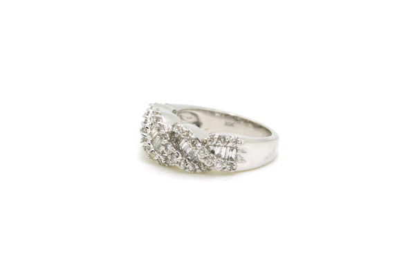 14k White Gold Round & Baguette Diamond Band Ring - 1.40 ct. total - Size 6