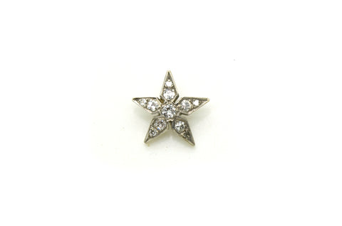 Vintage 14k White Gold Round Diamond Petite Star Pendant - .30 ct. total