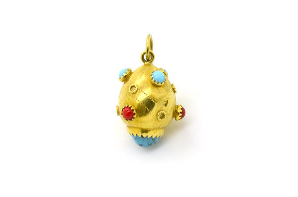 18k Yellow Gold Charm Pendant with Multicolored Turquoise & Carnelian Gemstones