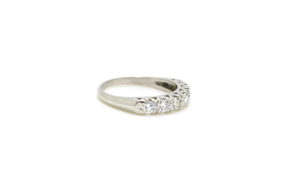 Vintage 14k White Gold Round Diamond 7-stone Band Ring - .70 ct. total - Size 7