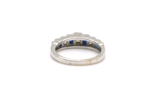 14k White Gold Blue Sapphire and Diamond Band Ring - .45 ct. total - Size 5.5