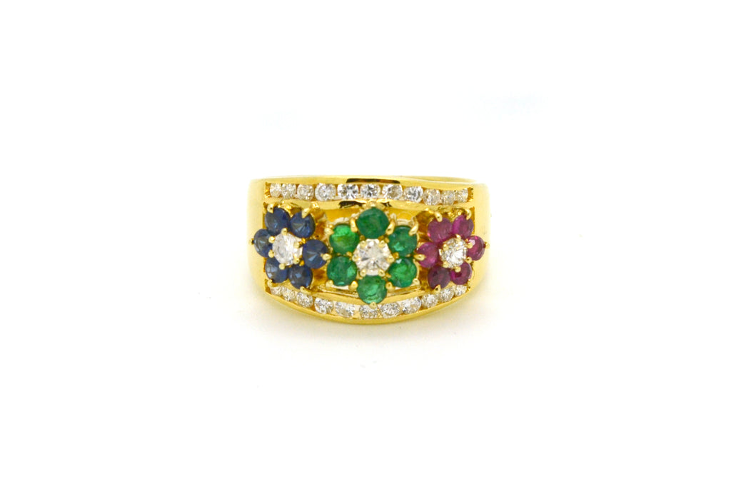Vintage 14k Yellow Gold Sapphire Emerald Ruby Diamond Ring -1.10 ct. tw - Size 6