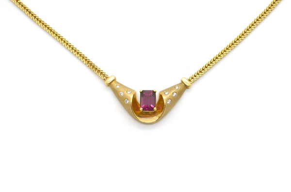 14k Yellow Gold Amethyst & Diamond Woven Chain Necklace - 1.65 ct. tw - 17.5 in.
