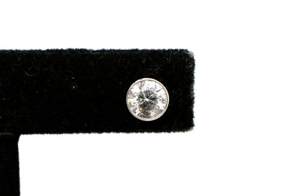 14k White Gold Round Diamond Bezel-Set Stud Earrings - 2.00 ct. total