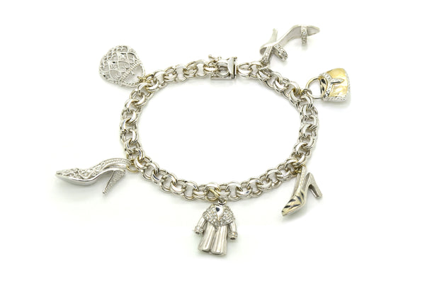 14k White Gold Diamond Enamel Fashionista Charm Bracelet - .50 ct. total - 7 in.