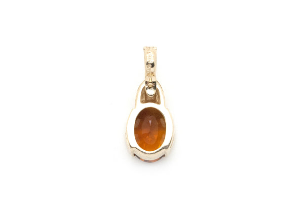 14k Yellow Gold Oval Shaped Orange Citrine Pendant - 6.00 ct. - 3.0 dwt