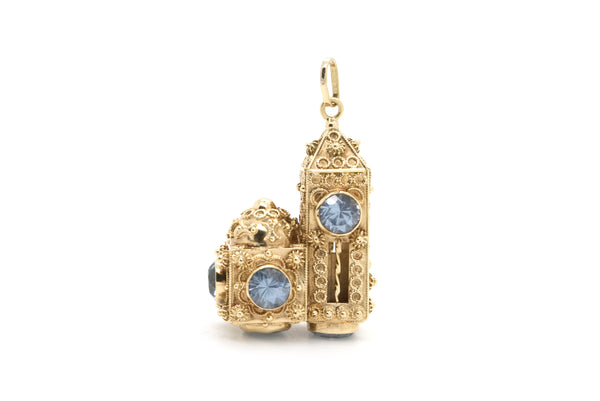 Victorian 18k Yellow Gold Large Cathedral Architectural Style Aquamarine Pendant