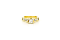 14k Yellow Gold Princess Cut Diamond GIA Engagement Ring - 1.30 ct tw - Size 4.5