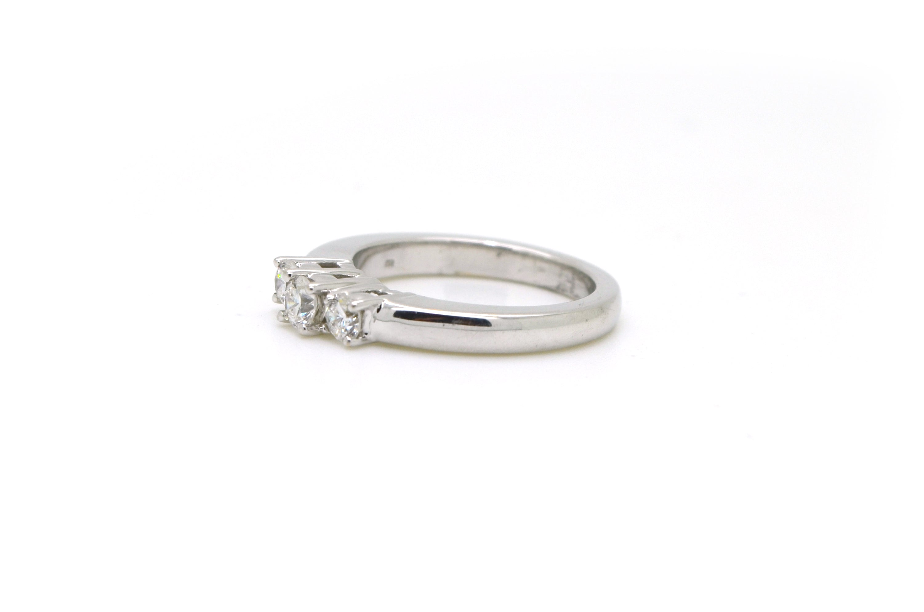 14k White Gold Round Diamond 3-stone Engagement Ring - .50 ct. total - Size 6.5