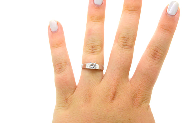 14k White Gold Princess Diamond Solitaire Engagement Ring - .50 ct. - Size 7.5