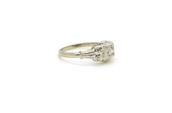 Vintage 14k White Gold Diamond Engagement Promise Ring - .15 ct. - Size 5.5