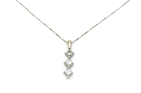 14k White Gold Three Princess Diamond Journey Necklace - .90 ct. total - 16 in.
