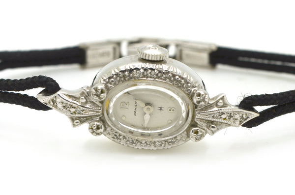 Vintage Ladies 14k White Gold Hamilton Diamond Watch - Black Strap - .10 ct. tw
