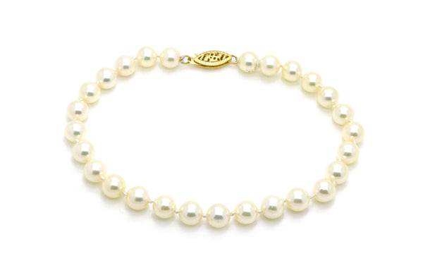 14k Yellow Gold White Cultured Pearl Strand Bracelet with Clasp - 8 in.