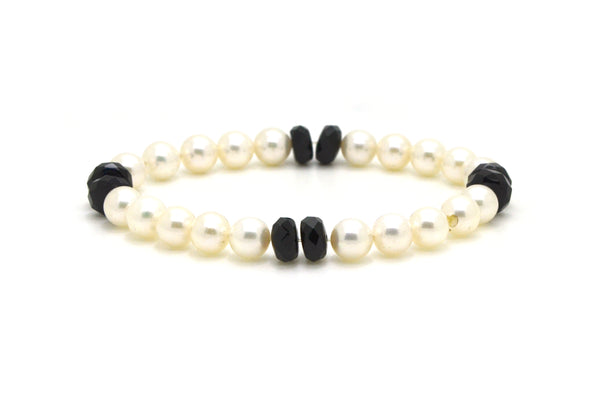White Round Cultured Pearl Strand Bracelet with Faceted Onyx Beads - 7.5 Inches