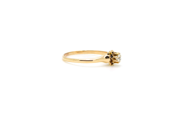 Vintage 14k Yellow Gold Solitaire Old Mine Cut Diamond Ring - .20 ct. - Size 7