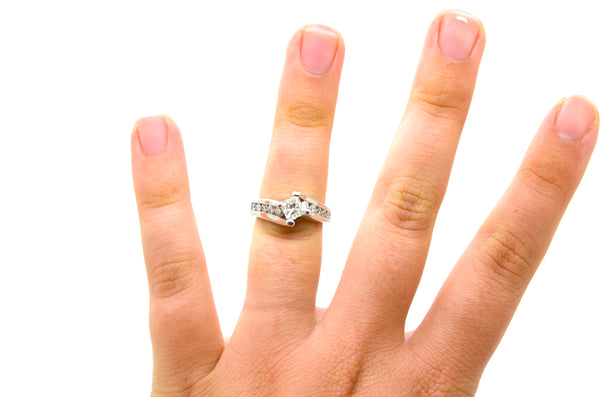 14k White Gold Princess Diamond Bypass Engagement Ring - 1.00 ct. total - Size 5