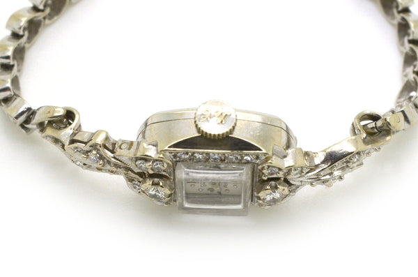 Vintage Ladies 14k White Gold Gruen Diamond Watch - 21 Jewels - 1.10 ct. total