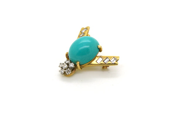 Vintage 14k Yellow Gold Turquoise & Diamond Fly Insect Pin Brooch - .30 ct. tw