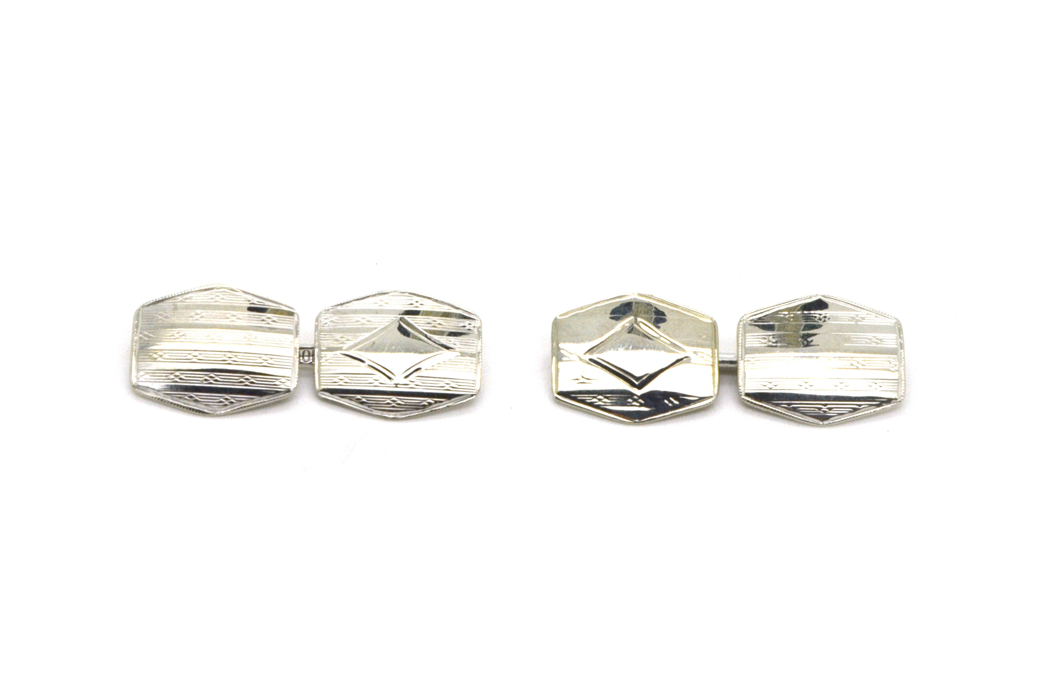 Vintage 10k White Gold Cufflinks with Engraved Design on Each Side - 2.2 dwt