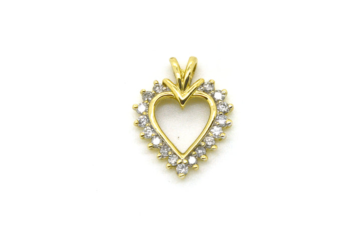 10k Yellow Gold Heart Shaped Pendant with Round Diamonds - .40 ct. total