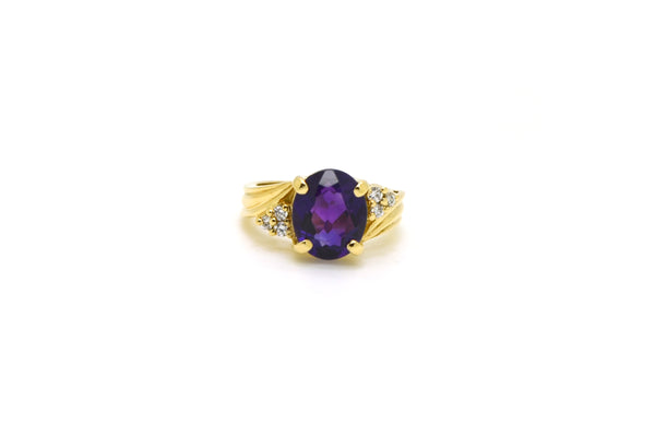 Vintage 14k Yellow Gold Diamond & Purple Amethyst Cocktail Ring - Size 6.25