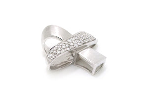 "14k White Gold Round Diamond ""X"" Slide Pendant - 19 x 21 mm - .50 ct. total"