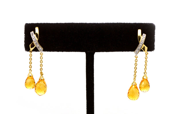 14k Yellow Gold Citrine Briolette & Diamond Dangle Earrings - 36 mm Drop