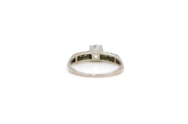 Vintage 14k White Gold Diamond Engagement Promise Ring - .45 ct total - Size 6.5