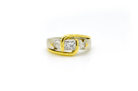 14k White & Yellow Gold Princess Cut Diamond 3 Stone Ring - 1.20 ct. tw - Size 5