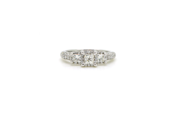 14k White Gold 3 Tiered Diamond Halo Engagement Ring - 1.00 ct. total - Size 6.5