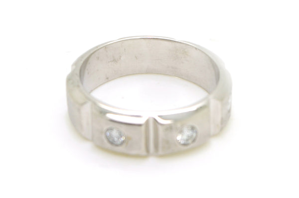 14k White Gold 7 mm Wide Segmented Diamond Band Ring - .50 ct. total - Size 11