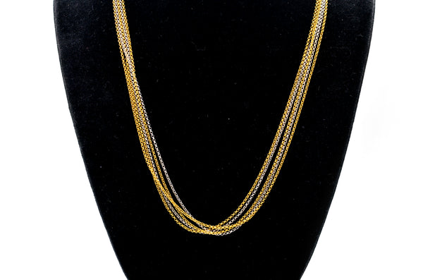 14k White and Yellow Gold Five Tiered Cable Chain Necklace - 16.75 in.