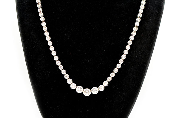 14k White Gold Graduated Bezel Diamond Riviera Necklace - 3.00 ct. tw - 16 in.